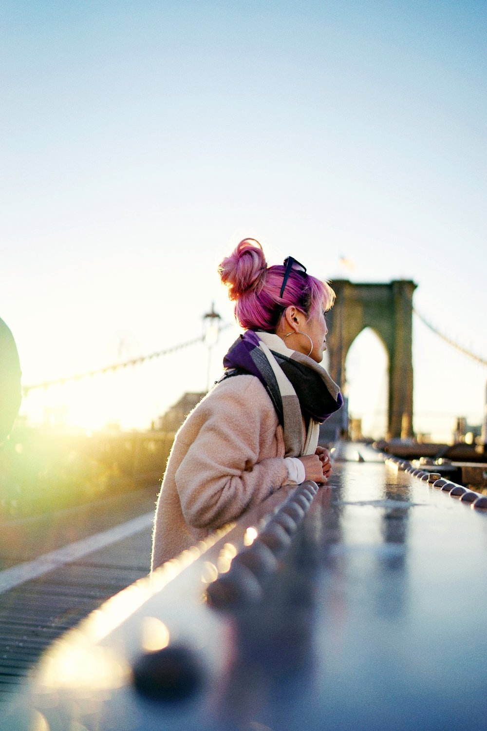 GAP Scarf-Zara pink coat-MOUSSY- frayed hem jeans- CHANEL Lambskin Quilted Medium Boy Flap Black-Adidas Superstar Shoes-Urban Outfitters Sunglasses-Aika's Love Closet-Sealtle fashion style blogger from japan-pink hair-brooklyn bridge-new york-city 4