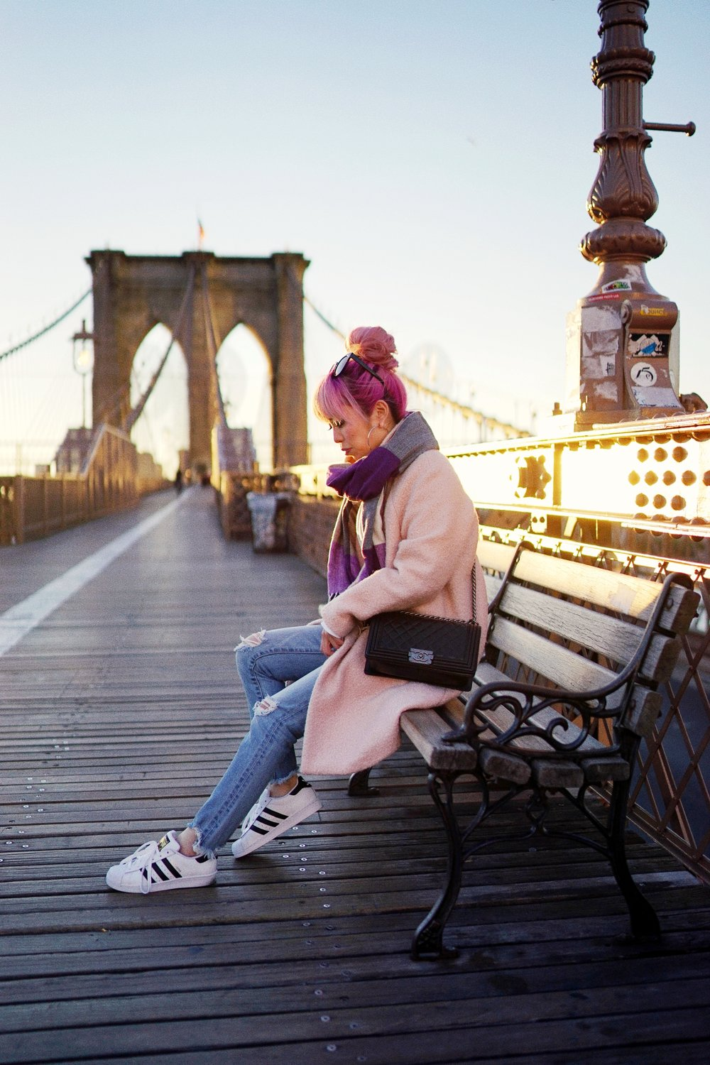 GAP Scarf-Zara pink coat-MOUSSY- frayed hem jeans- CHANEL Lambskin Quilted Medium Boy Flap Black-Adidas Superstar Shoes-Urban Outfitters Sunglasses-Aika's Love Closet-Sealtle fashion style blogger from japan-pink hair-brooklyn bridge-new york-city 8