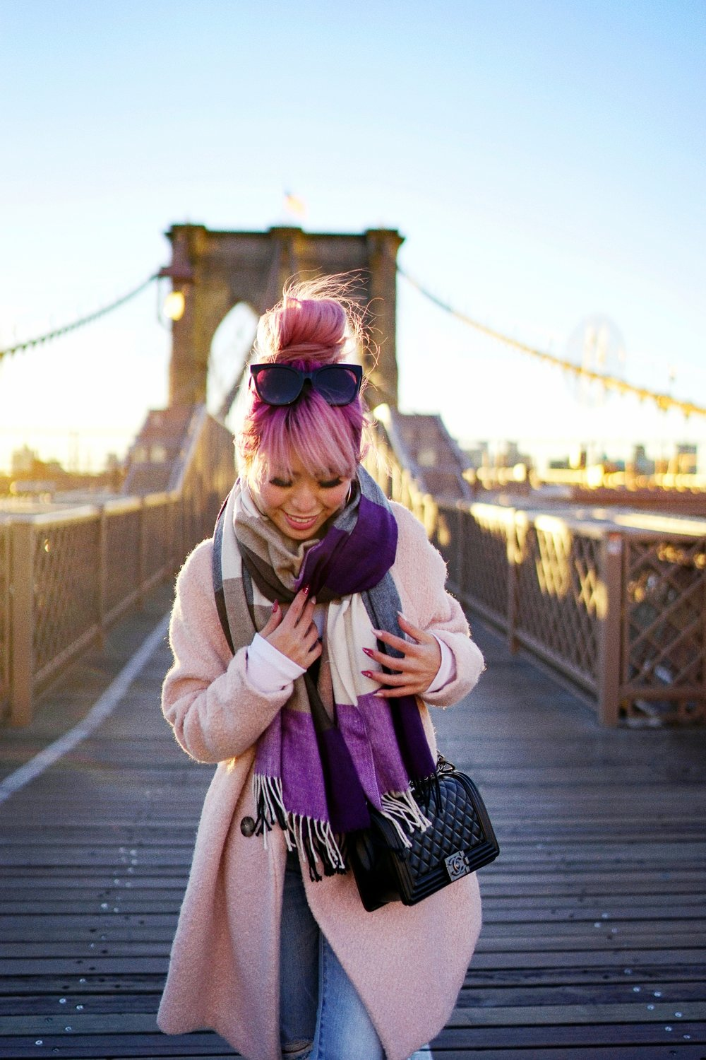 GAP Scarf-Zara pink coat-MOUSSY- frayed hem jeans- CHANEL Lambskin Quilted Medium Boy Flap Black-Adidas Superstar Shoes-Urban Outfitters Sunglasses-Aika's Love Closet-Sealtle fashion style blogger from japan-pink hair-brooklyn bridge-new york-city 12