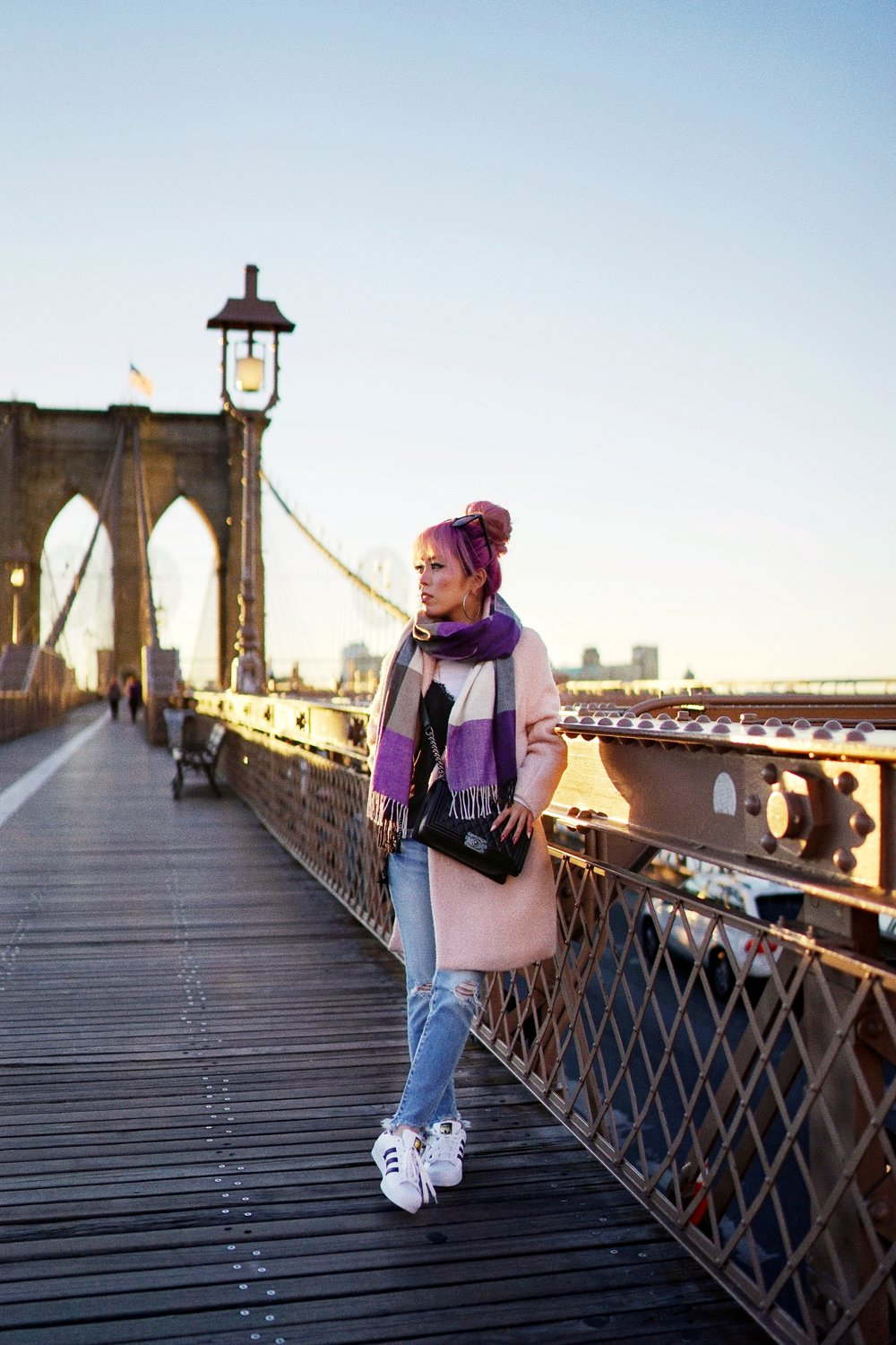 GAP Scarf-Zara pink coat-MOUSSY- frayed hem jeans- CHANEL Lambskin Quilted Medium Boy Flap Black-Adidas Superstar Shoes-Urban Outfitters Sunglasses-Aika's Love Closet-Sealtle fashion style blogger from japan-pink hair-brooklyn bridge-new york-city 13