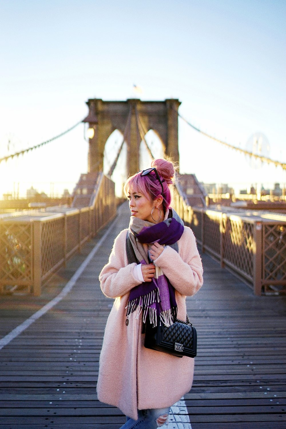 GAP Scarf-Zara pink coat-MOUSSY- frayed hem jeans- CHANEL Lambskin Quilted Medium Boy Flap Black-Adidas Superstar Shoes-Urban Outfitters Sunglasses-Aika's Love Closet-Sealtle fashion style blogger from japan-pink hair-brooklyn bridge-new york-city 15