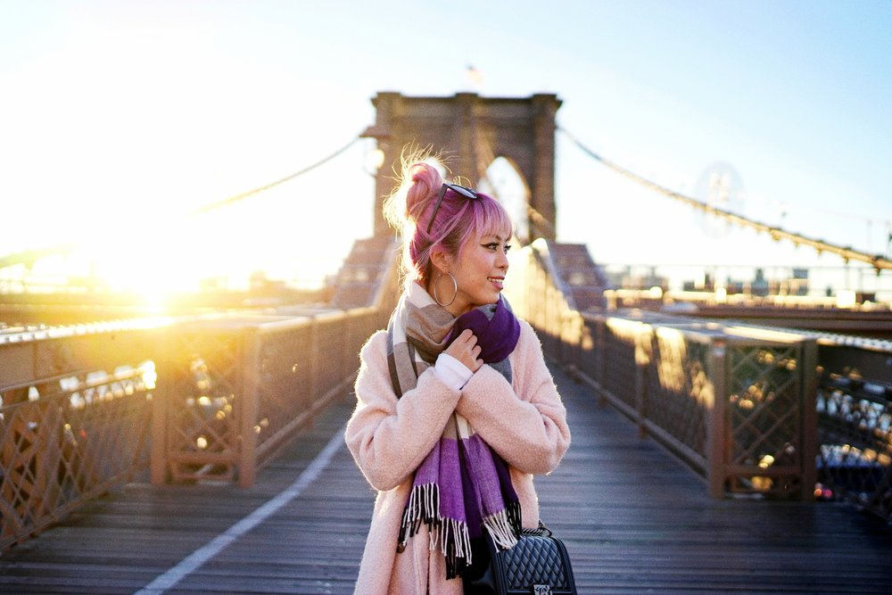 GAP Scarf-Zara pink coat-MOUSSY- frayed hem jeans- CHANEL Lambskin Quilted Medium Boy Flap Black-Adidas Superstar Shoes-Urban Outfitters Sunglasses-Aika's Love Closet-Sealtle fashion style blogger from japan-pink hair-brooklyn bridge-new york-city 17