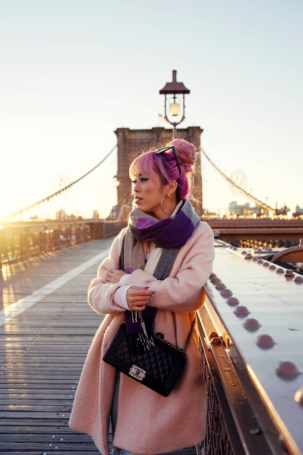 GAP Scarf-Zara pink coat-MOUSSY- frayed hem jeans- CHANEL Lambskin Quilted Medium Boy Flap Black-Adidas Superstar Shoes-Urban Outfitters Sunglasses-Aika's Love Closet-Sealtle fashion style blogger from japan-pink hair-brooklyn bridge-new york-city 19