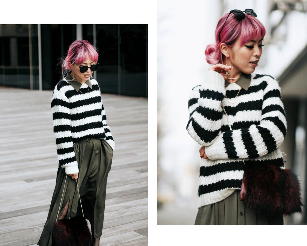 Who What Wear Striped Sweater_DVF Clarise Midi Shirt Dress_DVF Fur Bag_Kendra Scott Diana Shoulder Duster Earrings In Antique Brass_Amazon Fishnet Tights_ZARA ASYMMETRIC LEATHER HIGH HEEL SHOES_Aikas Love Closet_Seattle Fashion Blogger_japanese_Pink Hair 5