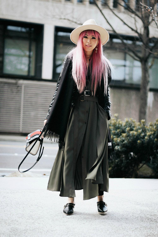 Lack Of Color Fedora-H&M biker Jacket-DVF silk shirt dress-ASOS western belt-zara statement bag-ASOS western mule-Aikas love closet-pink hair-seattle fashion lifestyle blogger-japanese