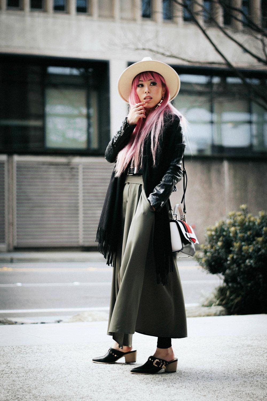 Lack Of Color Fedora-H&M biker Jacket-DVF silk shirt dress-ASOS western belt-zara statement bag-ASOS western mule-Aikas love closet-pink hair-seattle fashion lifestyle blogger-japanese 2