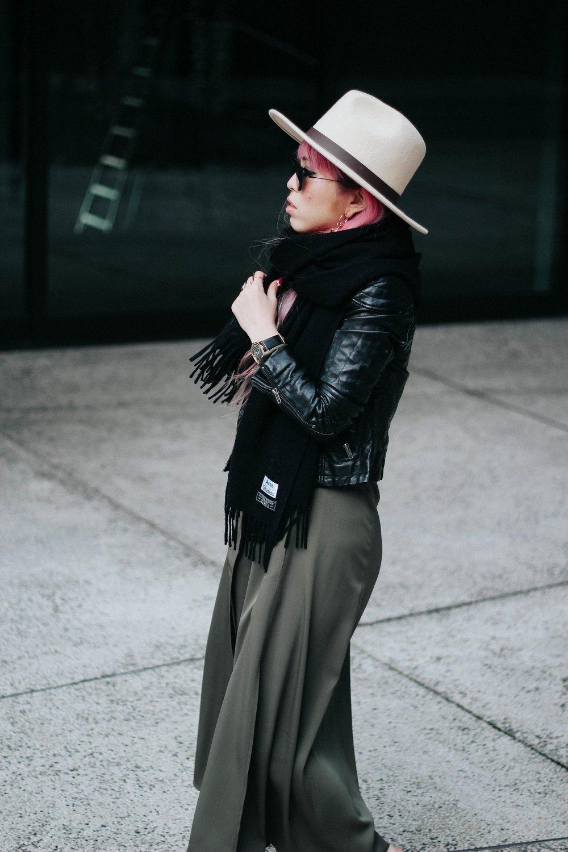Lack Of Color Fedora-H&M biker Jacket-DVF silk shirt dress-ASOS western belt-zara statement bag-ASOS western mule-Aikas love closet-pink hair-seattle fashion lifestyle blogger-japanese 3