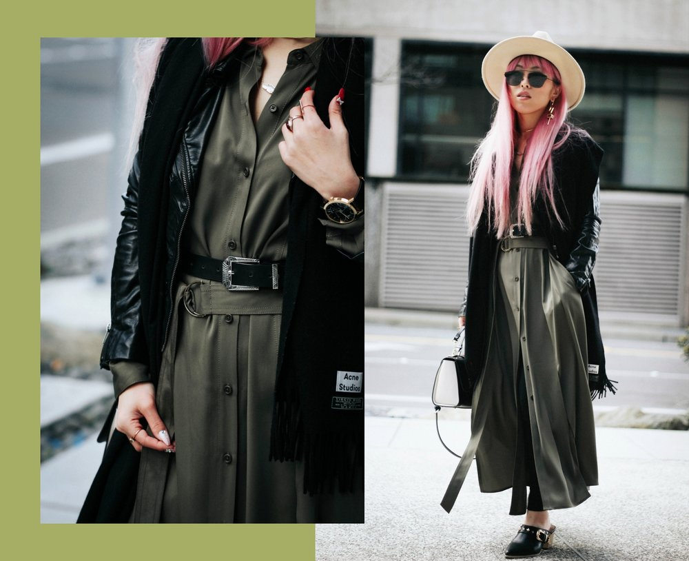 Acne Studios Black Canada Narrow Scarf-Lack Of Color Fedora-H&M biker Jacket-DVF silk shirt dress-ASOS western belt-zara statement bag-ASOS western mule-Aikas love closet-pink hair-seattle fashion lifestyle blogger-japanese 7