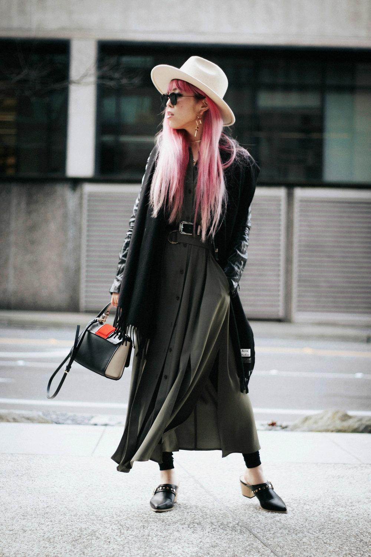 Acne Studios Black Canada Narrow Scarf-Lack Of Color Fedora-H&M biker Jacket-DVF silk shirt dress-ASOS western belt-zara statement bag-ASOS western mule-Aikas love closet-pink hair-seattle fashion lifestyle blogger-japanese 9