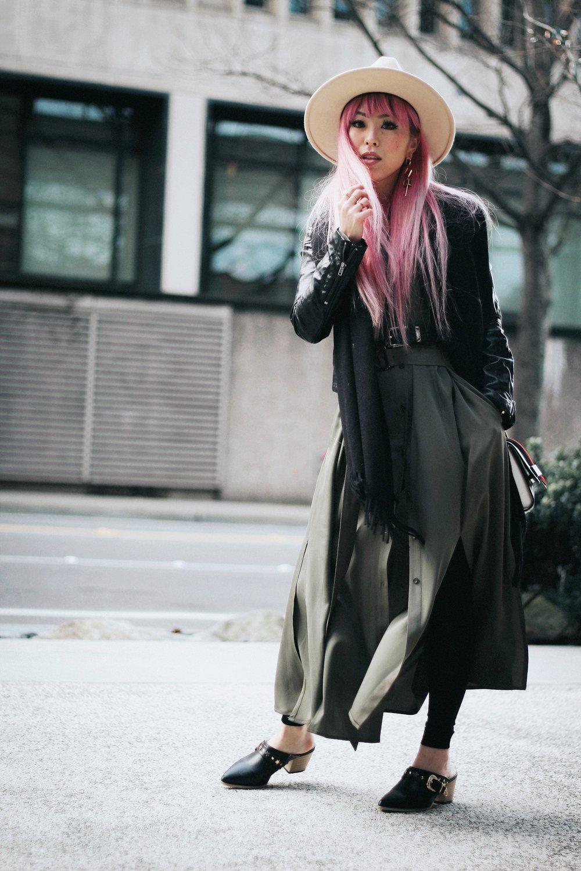 Acne Studios Black Canada Narrow Scarf-Lack Of Color Fedora-H&M biker Jacket-DVF silk shirt dress-ASOS western belt-zara statement bag-ASOS western mule-Aikas love closet-pink hair-seattle fashion lifestyle blogger-japanese 10