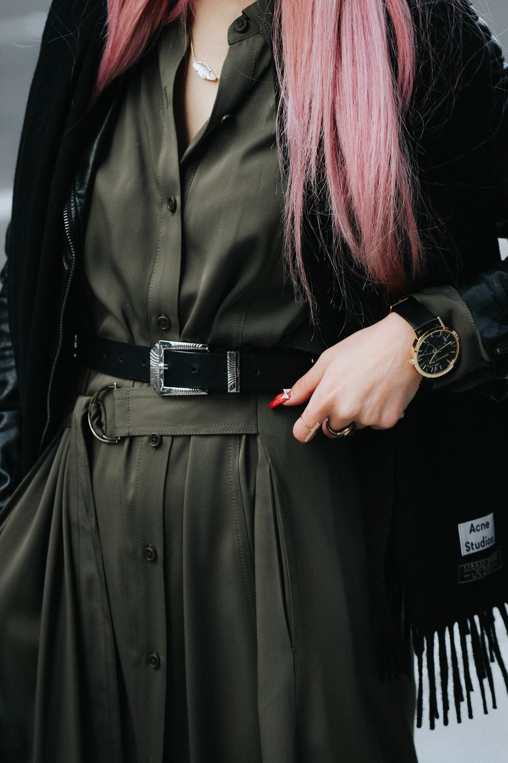 Acne Studios Black Canada Narrow Scarf-Lack Of Color Fedora-H&M biker Jacket-DVF silk shirt dress-ASOS western belt-zara statement bag-ASOS western mule-Aikas love closet-pink hair-seattle fashion lifestyle blogger-japanese 11