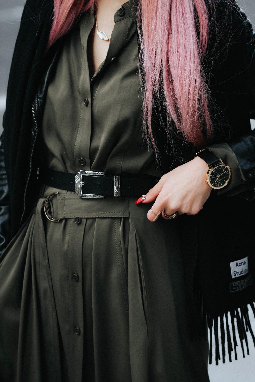 Acne Studios Black Canada Narrow Scarf-Lack Of Color Fedora-H&M biker Jacket-DVF silk shirt dress-ASOS western belt-zara statement bag-ASOS western mule-Aikas love closet-pink hair-seattle fashion lifestyle blogger-japanese 11