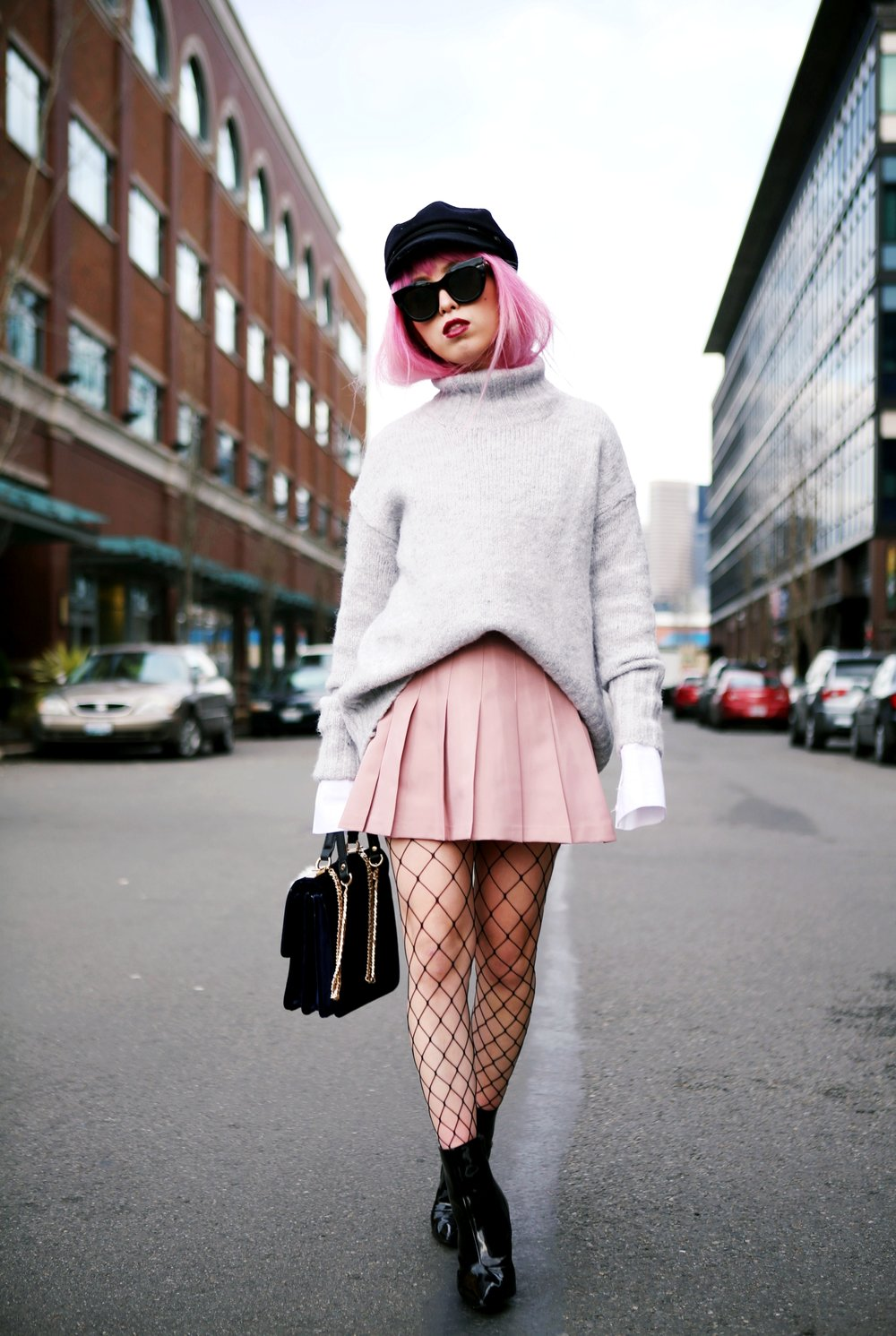 Isabel Marant News Boy Hat-H&M Gray Turtleneck Sweater-H&M Wide cuff Cotton Shirt-Forever 21 Pleated Mini Skirt-Boohoo Wide Fishnet Tights-ZARA Velvet Bag-ALDO Patent Booties-Le Specs Air Heart Sunglasses-Milani Black Cherry Lipstick-Aikas Love Closet-Seattle Style Lifestyle Blogger-japanese-pink hair 2