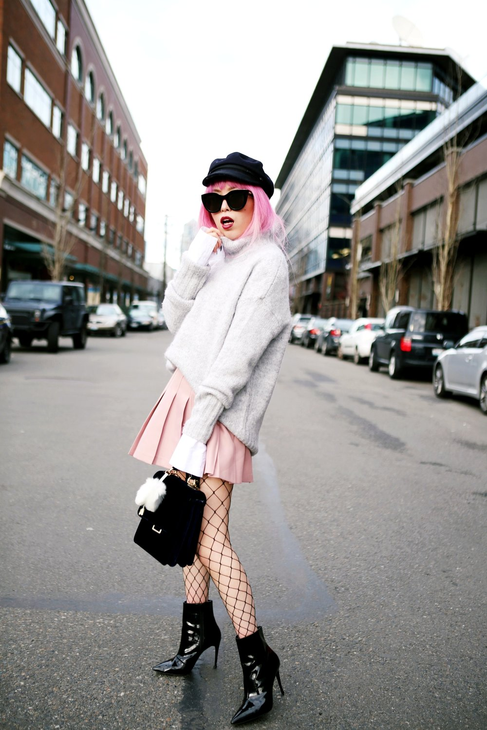 Isabel Marant News Boy Hat-H&M Gray Turtleneck Sweater-H&M Wide cuff Cotton Shirt-Forever 21 Pleated Mini Skirt-Boohoo Wide Fishnet Tights-ZARA Velvet Bag-ALDO Patent Booties-Le Specs Air Heart Sunglasses-Milani Black Cherry Lipstick-Aikas Love Closet-Seattle Style Lifestyle Blogger-japanese-pink hair 15