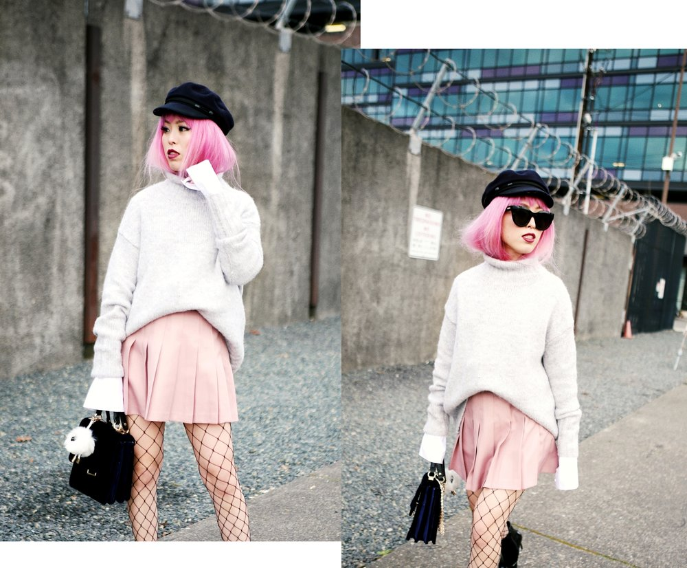 Isabel Marant News Boy Hat-H&M Gray Turtleneck Sweater-H&M Wide cuff Cotton Shirt-Forever 21 Pleated Mini Skirt-Boohoo Wide Fishnet Tights-ZARA Velvet Bag-ALDO Patent Booties-Le Specs Air Heart Sunglasses-Milani Black Cherry Lipstick-Aikas Love Closet-Seattle Style Lifestyle Blogger-japanese-pink hair 18
