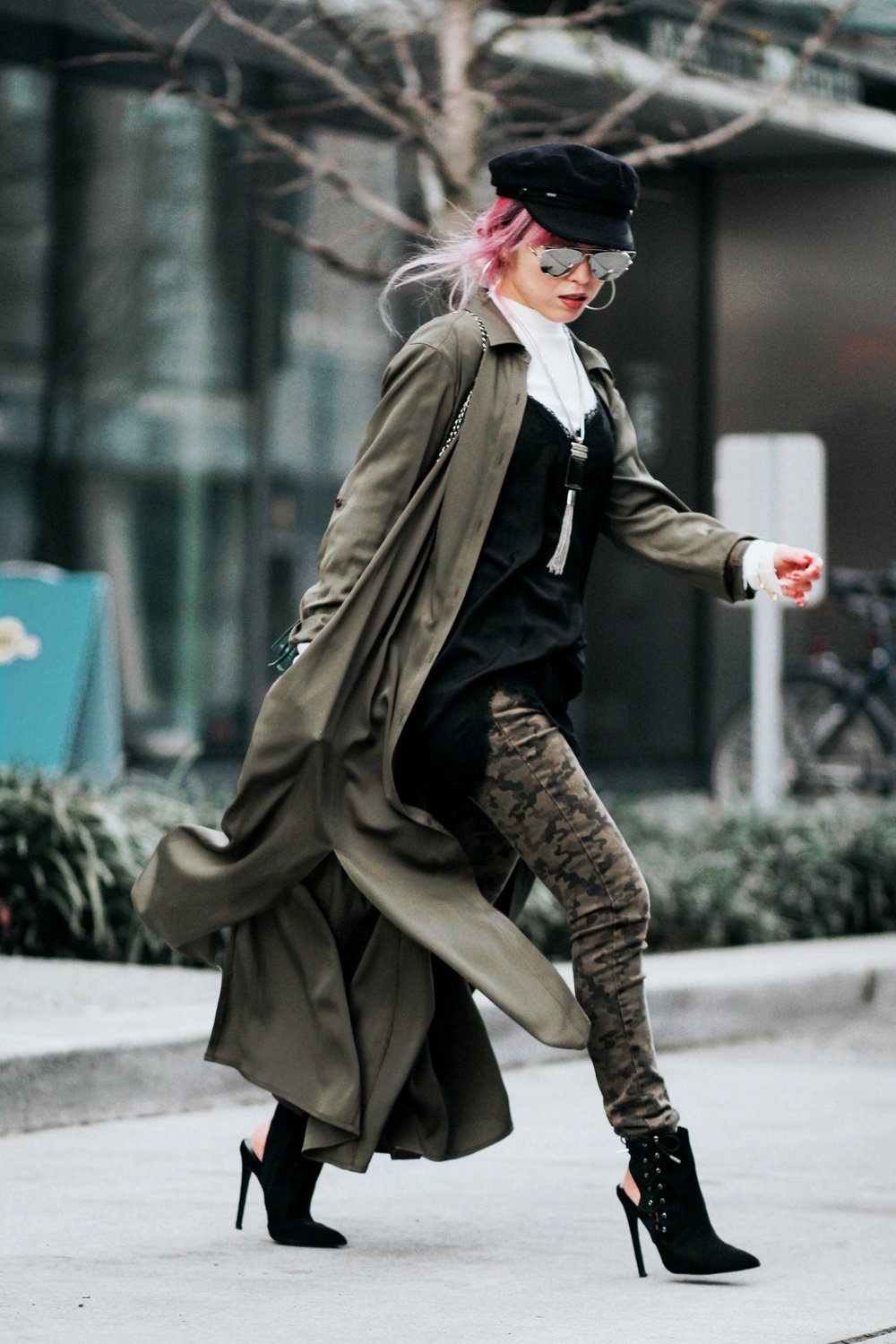 Isabel Marant newsboy hat_Zara Top_Urban Outfitters Slip Dress_Camo Jeans_Free People Mirrored Sunglasses_DVF Silk Shirt Dress_ASOS pointed lace up booties_Aikas Love Closet_Seattle Fashion Style blogger_Japanese_Pink Hair