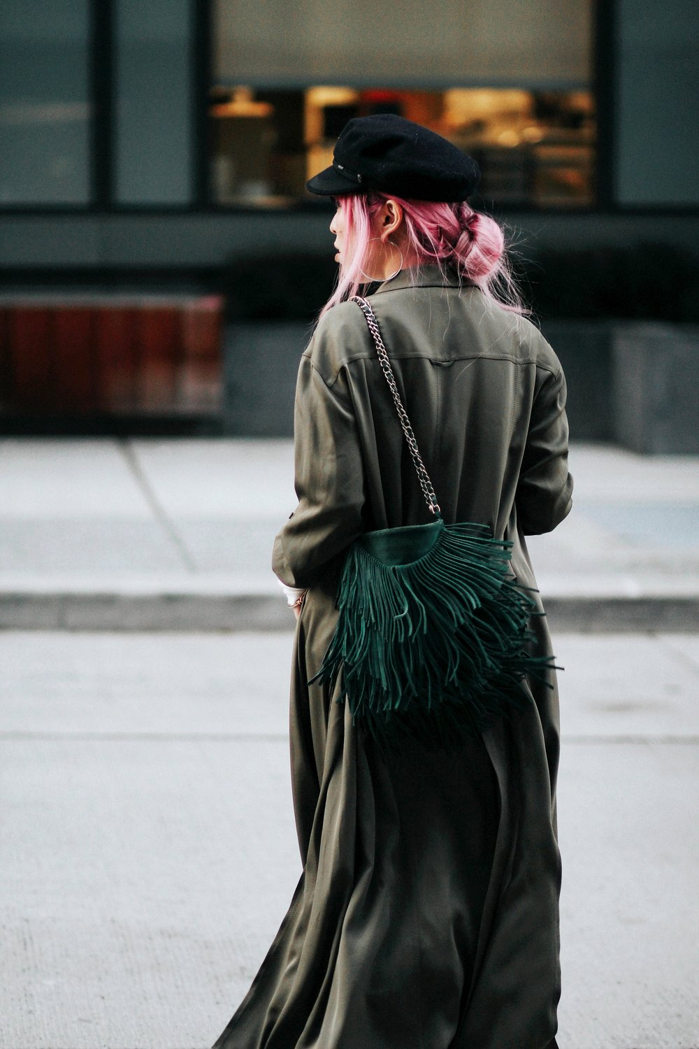 Isabel Marant newsboy hat_Zara Top_Urban Outfitters Slip Dress_Camo Jeans_Free People Mirrored Sunglasses_DVF Silk Shirt Dress_ASOS pointed lace up booties_Aikas Love Closet_Seattle Fashion Style blogger_Japanese_Pink Hair 4
