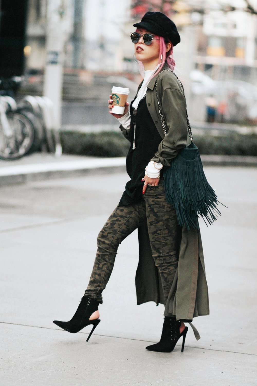 Isabel Marant newsboy hat_Zara Top_Urban Outfitters Slip Dress_Camo Jeans_Free People Mirrored Sunglasses_DVF Silk Shirt Dress_ASOS pointed lace up booties_Aikas Love Closet_Seattle Fashion Style blogger_Japanese_Pink Hair 8