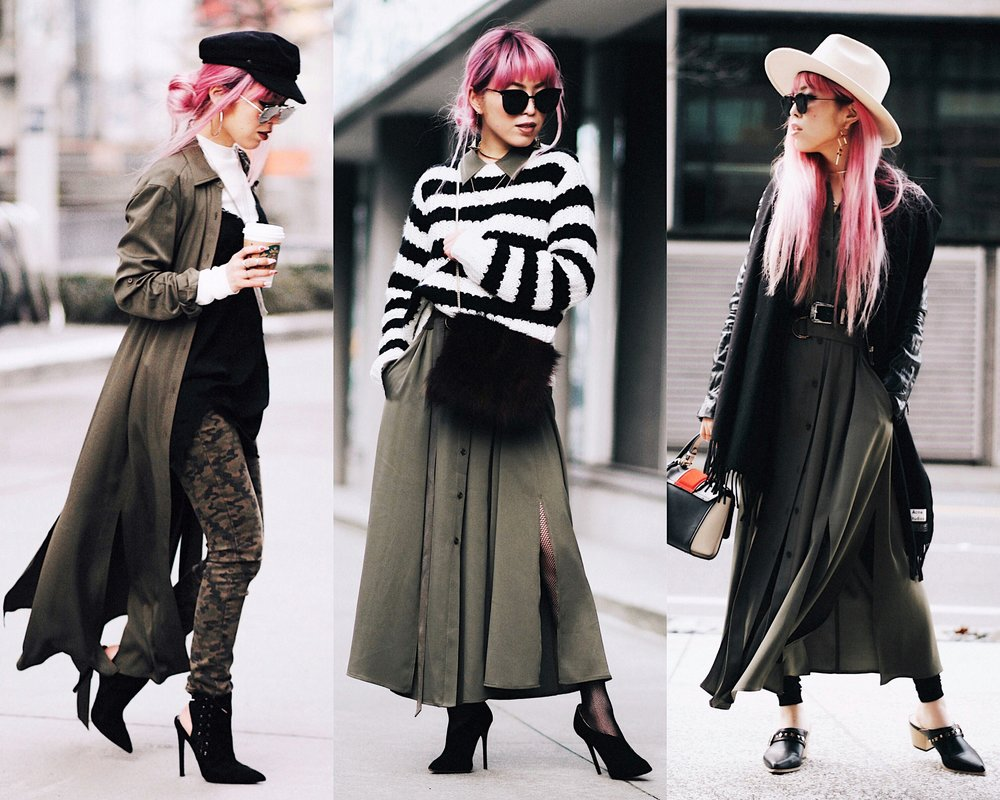 Isabel Marant newsboy hat_Zara Top_Urban Outfitters Slip Dress_Camo Jeans_Free People Mirrored Sunglasses_DVF Silk Shirt Dress_ASOS pointed lace up booties_Aikas Love Closet_Seattle Fashion Style blogger_Japanese_Pink Hair 12
