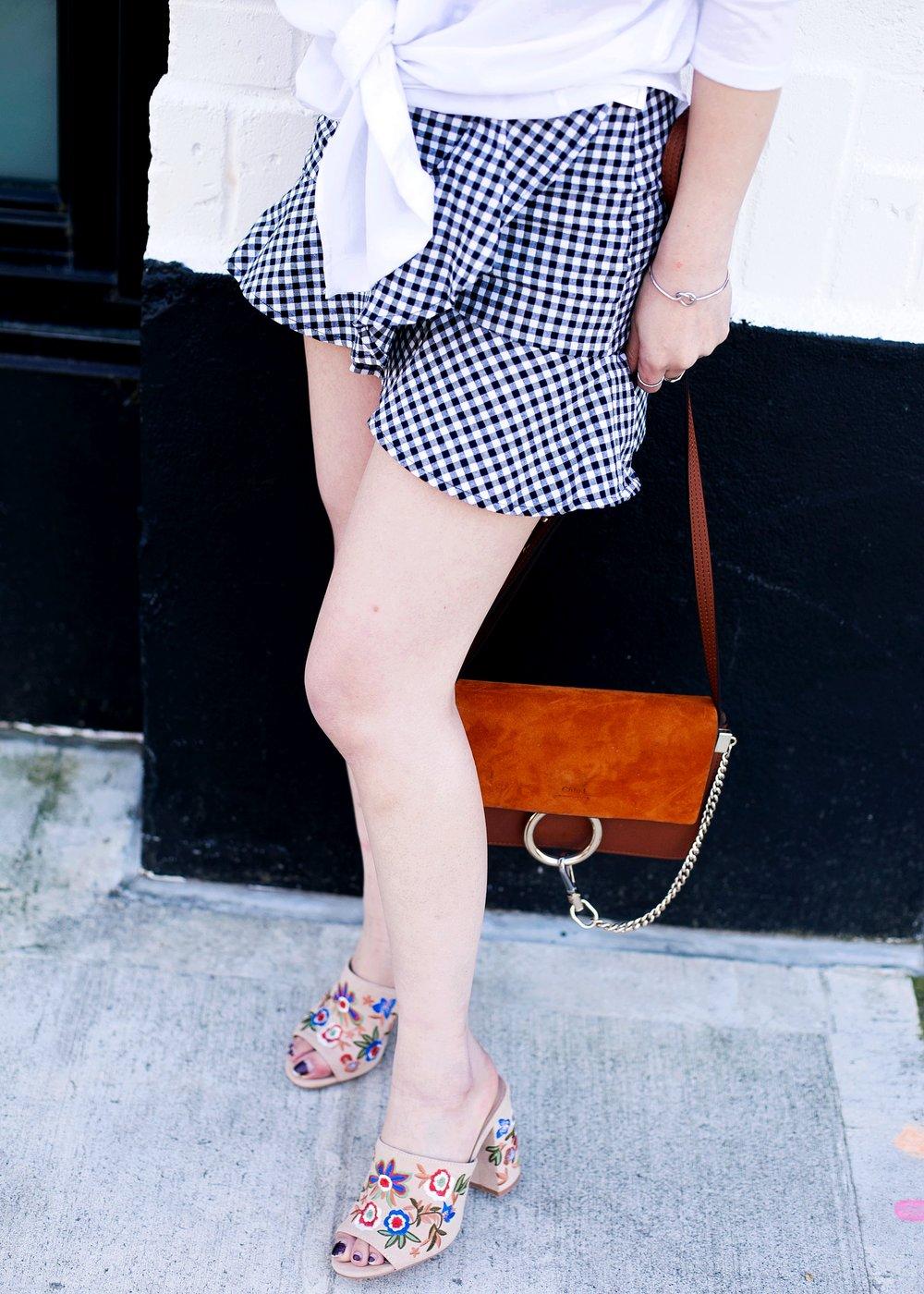 Aldo Yaessi Floral-Embroidered Mules- H&M Gingham mini skirt - Chloe Mini Faye Bag - Aika's Love Closet - Seattle Fashion Style Blogger - Japanese