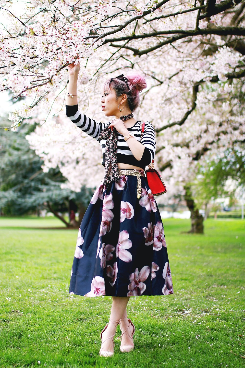 Charlotte Russe Striped Cropped Top-She In Floral Print Midi Skirt-Floral Print Think Scarf-Mellow World Red Mini Bag-Christian Paul 35MM ROSE GOLD/WHITE RAW MESH watch- Argento Vivo Earrings-Just Fab Lace up pumps- Aikas Love Closet-Seattle Fashion Style Blogger-Japanese-Pink hair