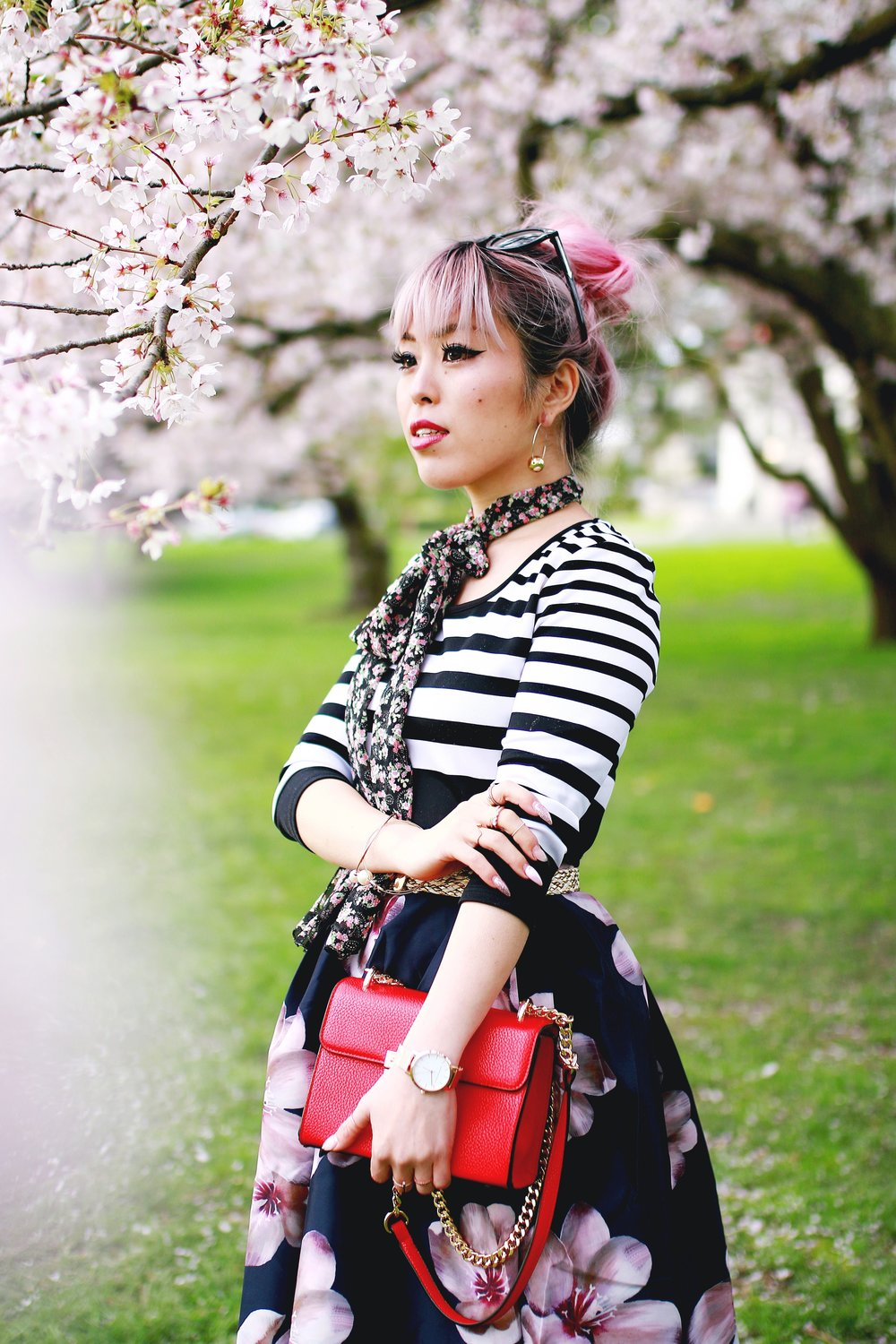 Charlotte Russe Striped Cropped Top-She In Floral Print Midi Skirt-Floral Print Think Scarf-Mellow World Red Mini Bag-Christian Paul 35MM ROSE GOLD/WHITE RAW MESH watch- Argento Vivo Earrings-Just Fab Lace up pumps- Aikas Love Closet-Seattle Fashion Style Blogger-Japanese-Pink hair 2
