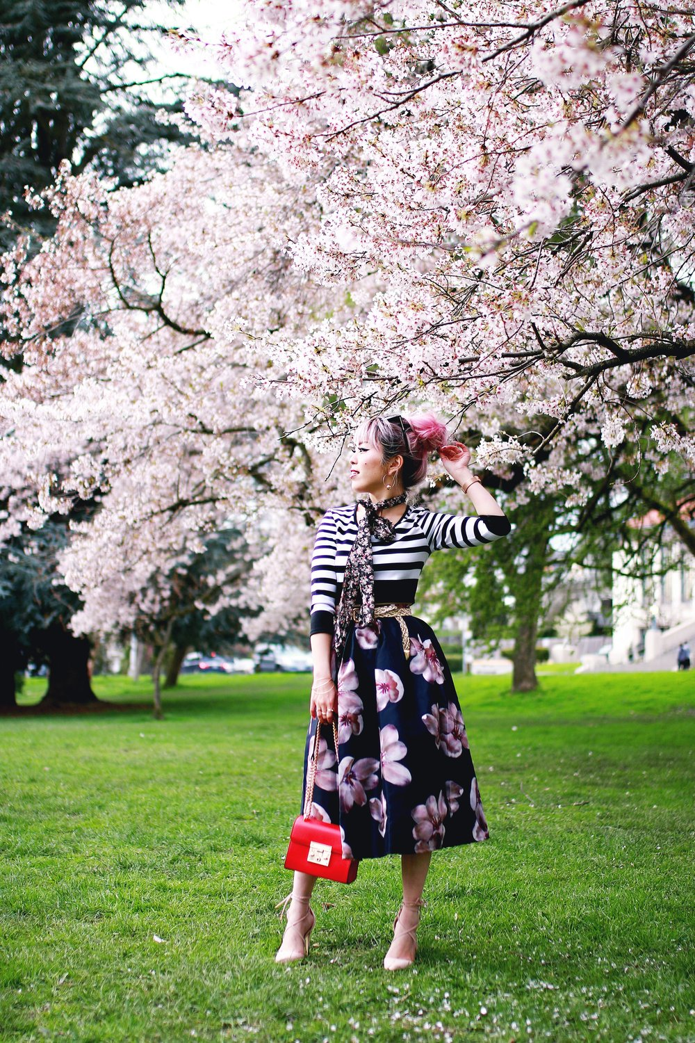 Charlotte Russe Striped Cropped Top-She In Floral Print Midi Skirt-Floral Print Think Scarf-Mellow World Red Mini Bag-Christian Paul 35MM ROSE GOLD/WHITE RAW MESH watch- Argento Vivo Earrings-Just Fab Lace up pumps- Aikas Love Closet-Seattle Fashion Style Blogger-Japanese-Pink hair 4