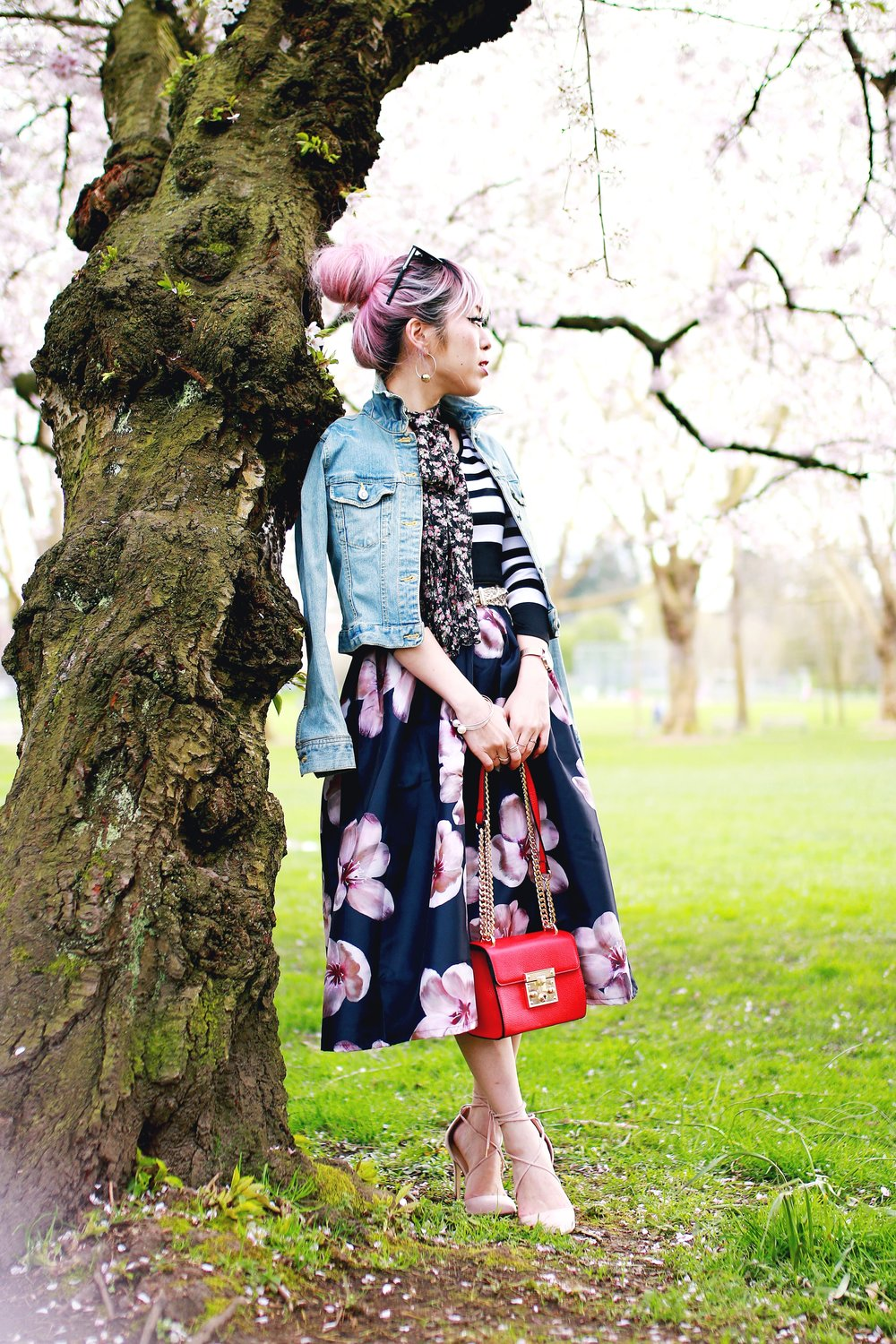 Charlotte Russe Striped Cropped Top-She In Floral Print Midi Skirt-Floral Print Think Scarf-Mellow World Red Mini Bag-Christian Paul 35MM ROSE GOLD/WHITE RAW MESH watch- Argento Vivo Earrings-Just Fab Lace up pumps- Aikas Love Closet-Seattle Fashion Style Blogger-Japanese-Pink hair 5