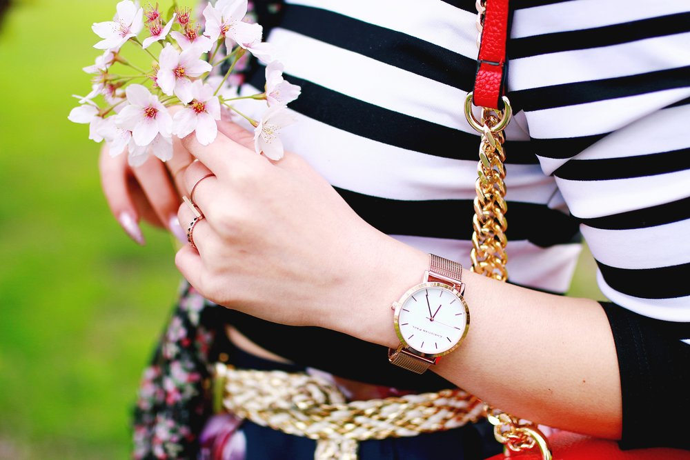 Charlotte Russe Striped Cropped Top-She In Floral Print Midi Skirt-Floral Print Think Scarf-Mellow World Red Mini Bag-Christian Paul 35MM ROSE GOLD/WHITE RAW MESH watch- Argento Vivo Earrings-Just Fab Lace up pumps- Aikas Love Closet-Seattle Fashion Style Blogger-Japanese-Pink hair 6