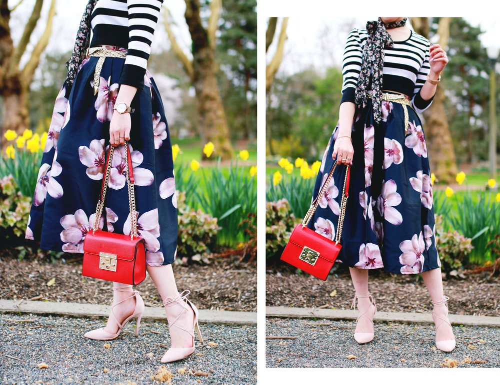 Charlotte Russe Striped Cropped Top-She In Floral Print Midi Skirt-Floral Print Think Scarf-Mellow World Red Mini Bag-Christian Paul 35MM ROSE GOLD/WHITE RAW MESH watch- Argento Vivo Earrings-Just Fab Lace up pumps- Aikas Love Closet-Seattle Fashion Style Blogger-Japanese-Pink hair 10