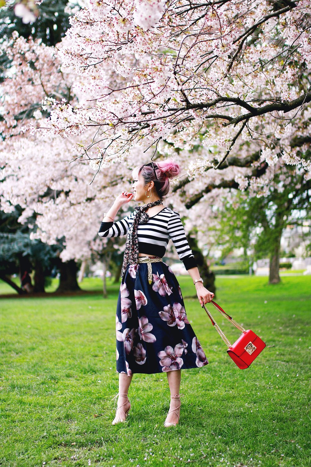 Charlotte Russe Striped Cropped Top-She In Floral Print Midi Skirt-Floral Print Think Scarf-Mellow World Red Mini Bag-Christian Paul 35MM ROSE GOLD/WHITE RAW MESH watch- Argento Vivo Earrings-Just Fab Lace up pumps- Aikas Love Closet-Seattle Fashion Style Blogger-Japanese-Pink hair 12