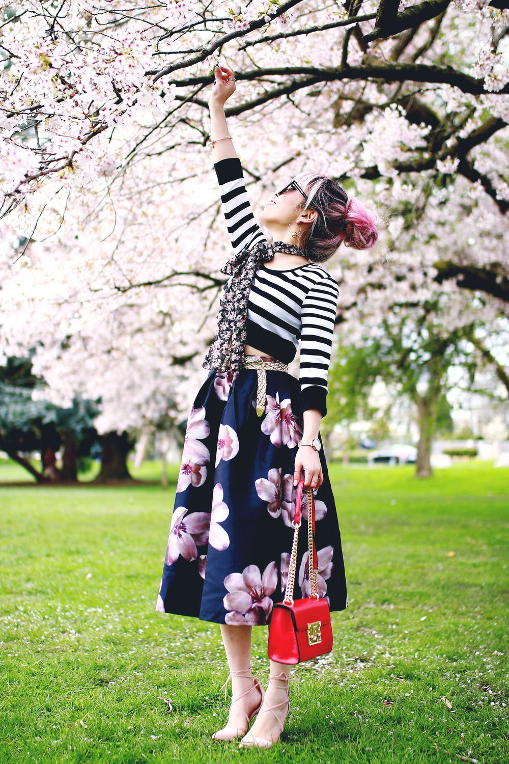 Charlotte Russe Striped Cropped Top-She In Floral Print Midi Skirt-Floral Print Think Scarf-Mellow World Red Mini Bag-Christian Paul 35MM ROSE GOLD/WHITE RAW MESH watch- Argento Vivo Earrings-Just Fab Lace up pumps- Aikas Love Closet-Seattle Fashion Style Blogger-Japanese-Pink hair 15