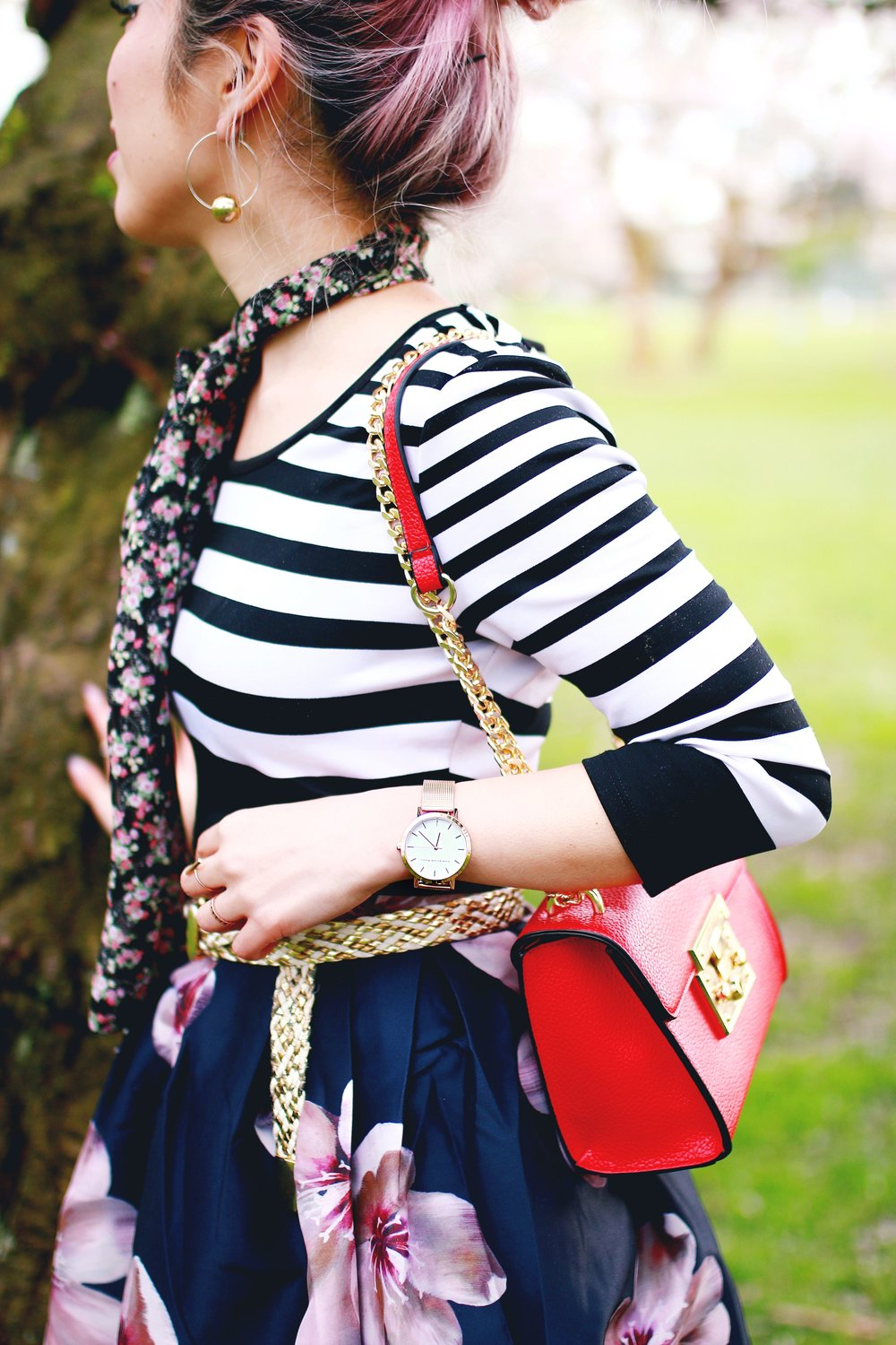 Charlotte Russe Striped Cropped Top-She In Floral Print Midi Skirt-Floral Print Think Scarf-Mellow World Red Mini Bag-Christian Paul 35MM ROSE GOLD/WHITE RAW MESH watch- Argento Vivo Earrings-Just Fab Lace up pumps- Aikas Love Closet-Seattle Fashion Style Blogger-Japanese-Pink hair 17