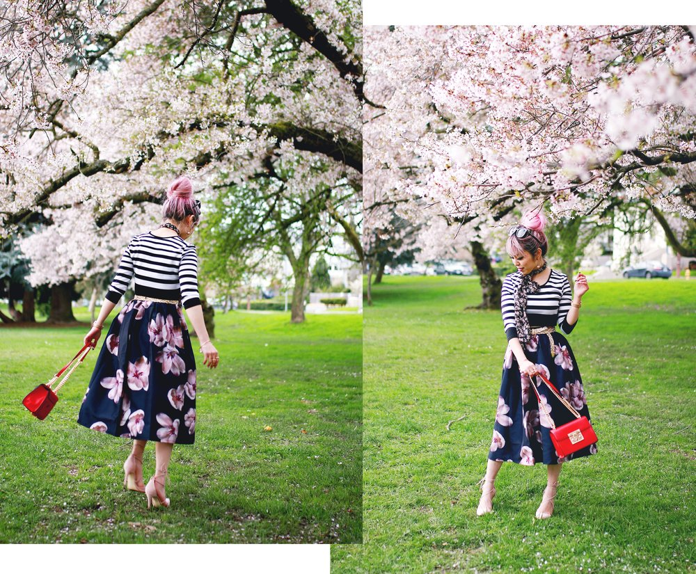 Charlotte Russe Striped Cropped Top-She In Floral Print Midi Skirt-Floral Print Think Scarf-Mellow World Red Mini Bag-Christian Paul 35MM ROSE GOLD/WHITE RAW MESH watch- Argento Vivo Earrings-Just Fab Lace up pumps- Aikas Love Closet-Seattle Fashion Style Blogger-Japanese-Pink hair 22