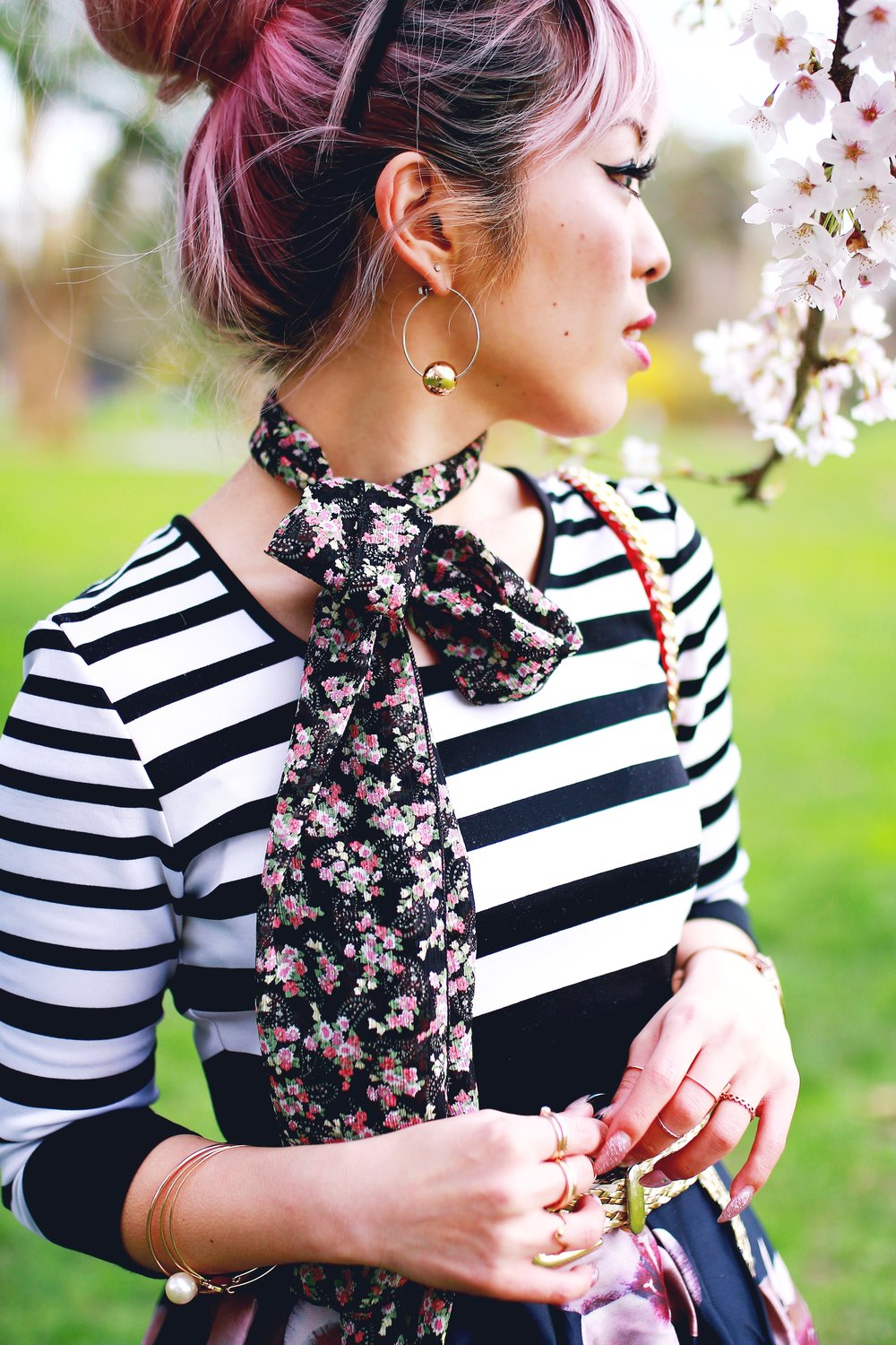 Charlotte Russe Striped Cropped Top-She In Floral Print Midi Skirt-Floral Print Think Scarf-Mellow World Red Mini Bag-Christian Paul 35MM ROSE GOLD/WHITE RAW MESH watch- Argento Vivo Earrings-Just Fab Lace up pumps- Aikas Love Closet-Seattle Fashion Style Blogger-Japanese-Pink hair 23