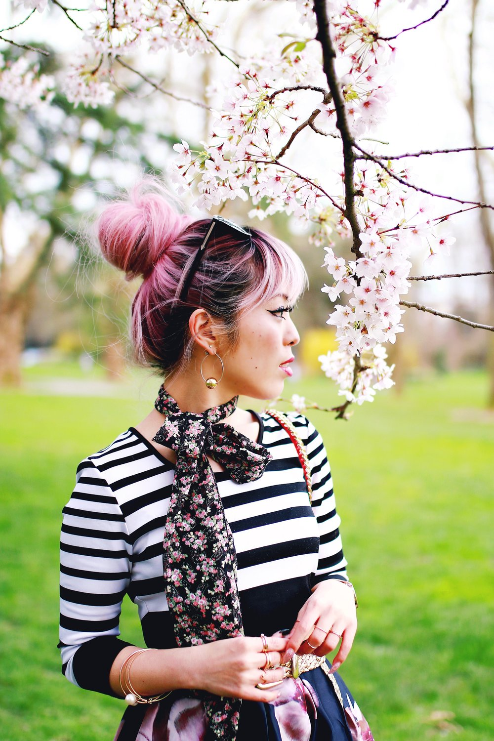 Charlotte Russe Striped Cropped Top-She In Floral Print Midi Skirt-Floral Print Think Scarf-Mellow World Red Mini Bag-Christian Paul 35MM ROSE GOLD/WHITE RAW MESH watch- Argento Vivo Earrings-Just Fab Lace up pumps- Aikas Love Closet-Seattle Fashion Style Blogger-Japanese-Pink hair 26