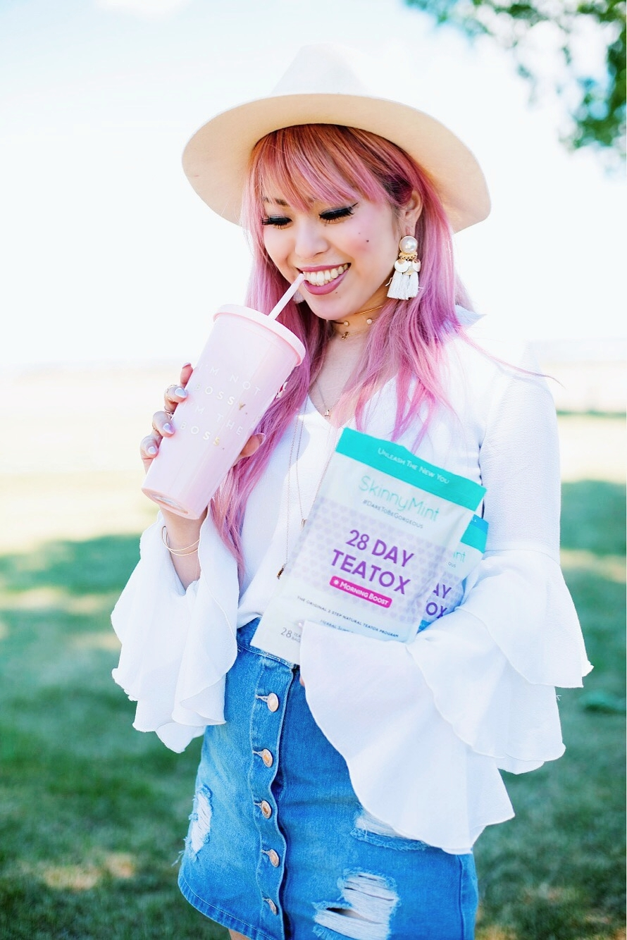 SkinnyMint Teatox - detox - exercise-healthy life style-all natural -Aika's Love Closet - Seattle Style Fashion Lifestyle Blogger - pink hair 2