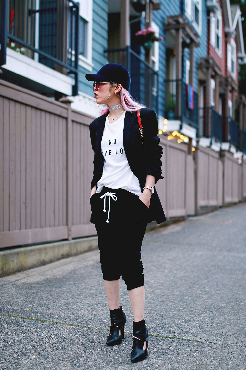 H&M Baseball Cap_Shop Sincerely Jules No LOVE LOST Tee_H&M Sweatpants_YSL Boyfriend Blazer_Zara Choker_Forever 21 Hoop Earrings_Mellow World Red Bag_Jeffrey Campbell Booties_L'Oreal Red Lipstick_Aikas Love Closet_Seattle Fashion Style Blogger_Pink Hair