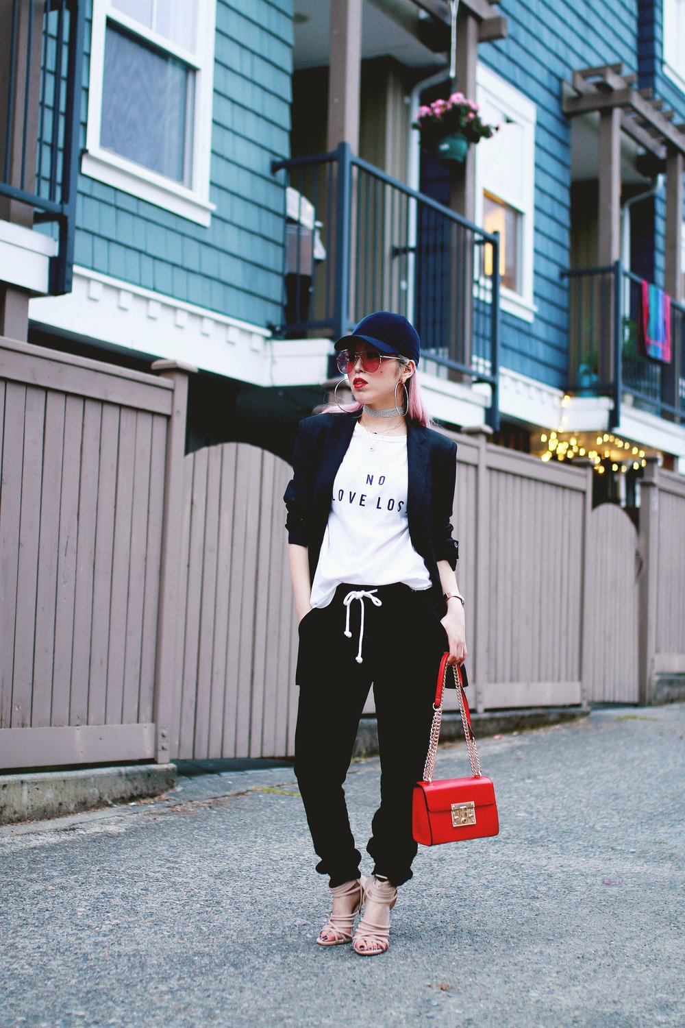 H&M Baseball Cap_Shop Sincerely Jules No LOVE LOST Tee_H&M Sweatpants_YSL Boyfriend Blazer_Zara Choker_Forever 21 Hoop Earrings_Mellow World Red Bag_Charlotte Russe Nude Sandals_L'Oreal Red Lipstick_Aikas Love Closet_Seattle Fashion Style Blogger_Pink Hair 2