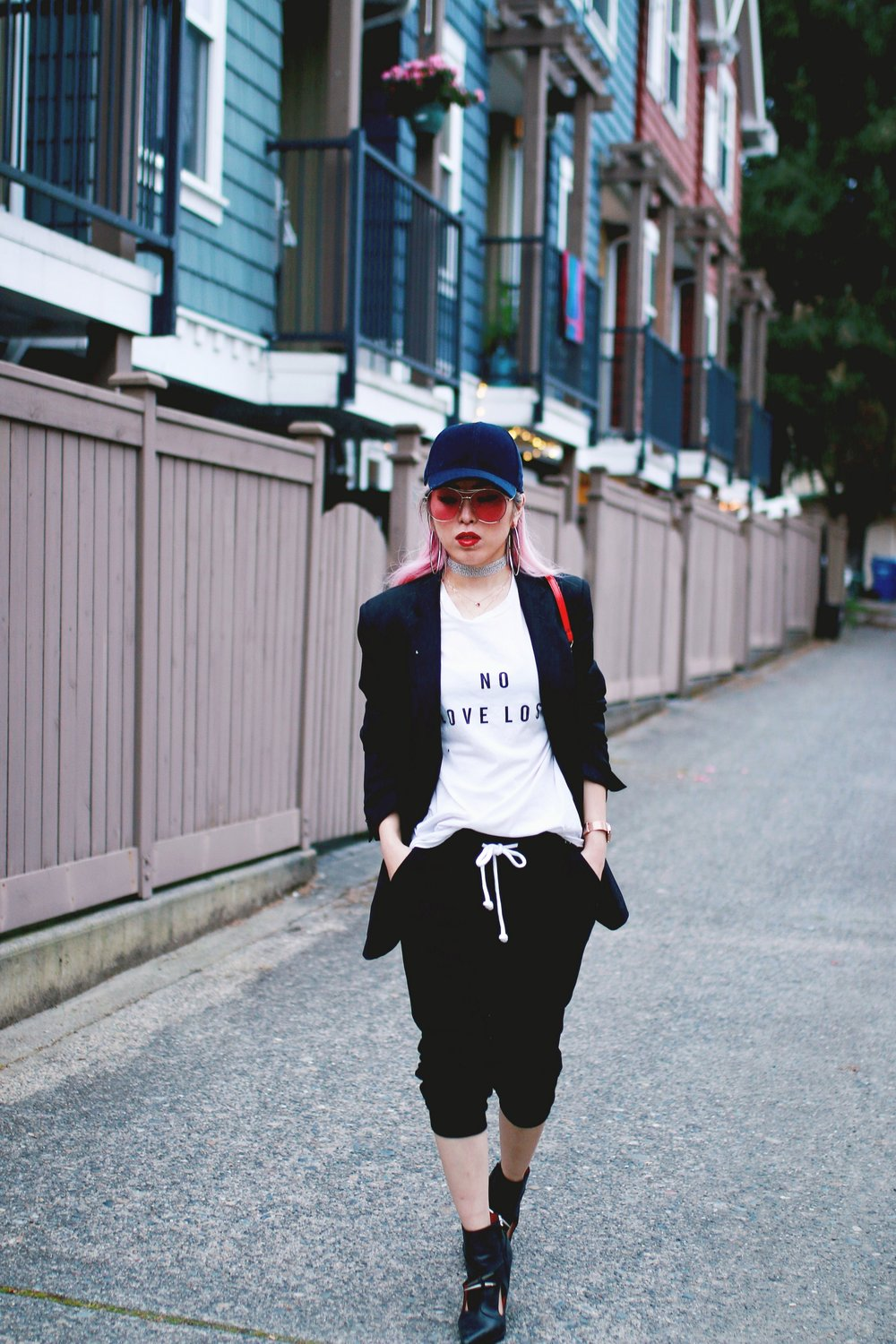 H&M Baseball Cap_Shop Sincerely Jules No LOVE LOST Tee_H&M Sweatpants_YSL Boyfriend Blazer_Zara Choker_Forever 21 Hoop Earrings_Mellow World Red Bag_Jeffrey Campbell Booties_L'Oreal Red Lipstick_Aikas Love Closet_Seattle Fashion Style Blogger_Pink Hair 2