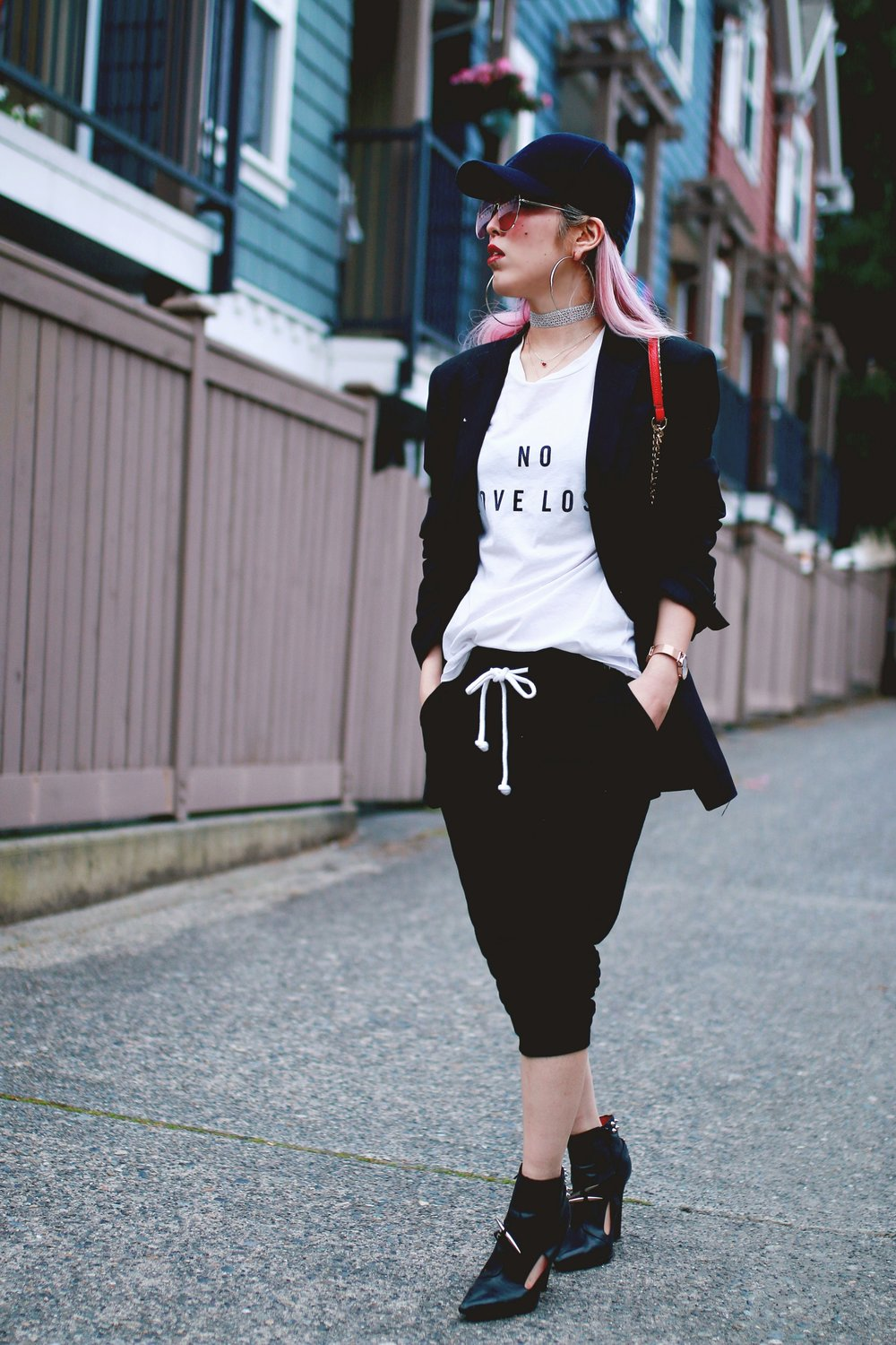 H&M Baseball Cap_Shop Sincerely Jules No LOVE LOST Tee_H&M Sweatpants_YSL Boyfriend Blazer_Zara Choker_Forever 21 Hoop Earrings_Mellow World Red Bag_Jeffrey Campbell Booties_L'Oreal Red Lipstick_Aikas Love Closet_Seattle Fashion Style Blogger_Pink Hair 4