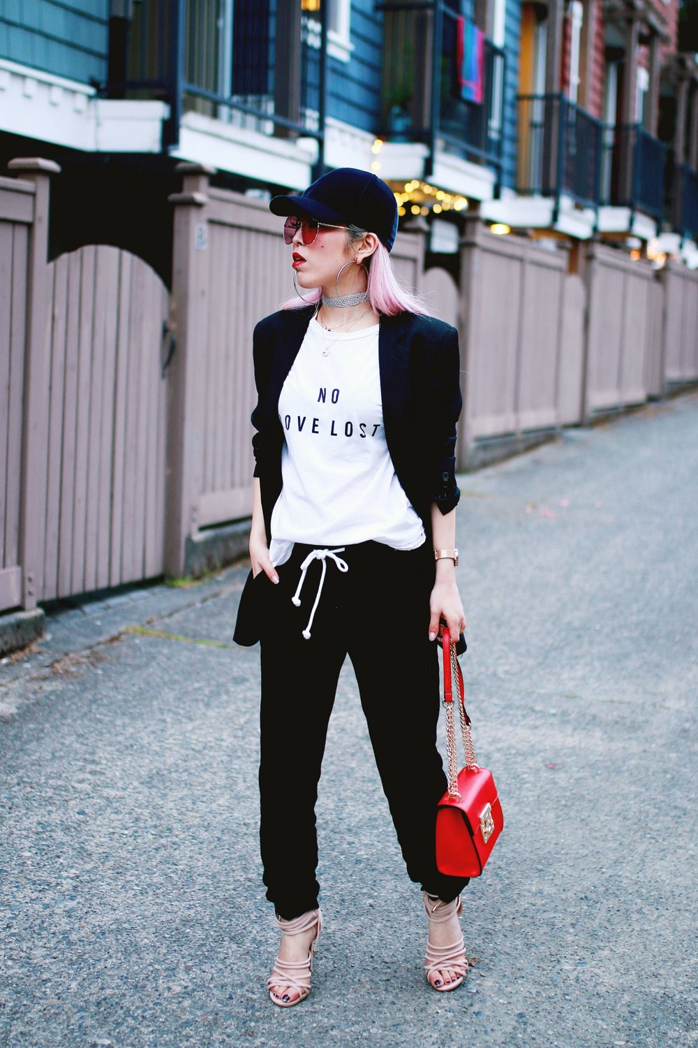 H&M Baseball Cap_Shop Sincerely Jules No LOVE LOST Tee_H&M Sweatpants_YSL Boyfriend Blazer_Zara Choker_Forever 21 Hoop Earrings_Mellow World Red Bag_Charlotte Russe Nude Sandals_L'Oreal Red Lipstick_Aikas Love Closet_Seattle Fashion Style Blogger_Pink Hair 3