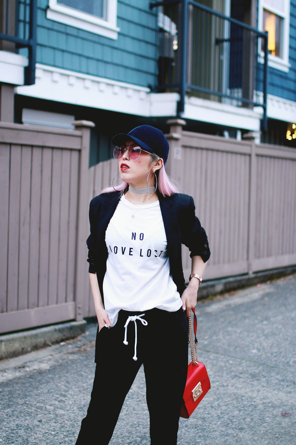 H&M Baseball Cap_Shop Sincerely Jules No LOVE LOST Tee_H&M Sweatpants_YSL Boyfriend Blazer_Zara Choker_Forever 21 Hoop Earrings_Mellow World Red Bag_Charlotte Russe Nude Sandals_L'Oreal Red Lipstick_Aikas Love Closet_Seattle Fashion Style Blogger_Pink Hair 6