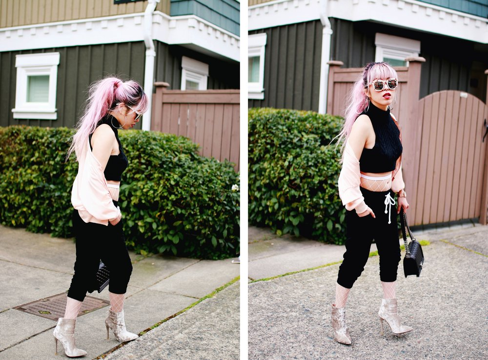 Zara Blush Silk Bomber Jacket_Missguided mock neck Crop top_ASOS fishnet tights_H&M sweatpants_Public Desire Boots_Chanel Bag_L'Oreal Red Lipstick_Free People Mirrored Sunglasses_Aikas Love Closet_Seattle Fashion Style Blogger_Pink Hair 15
