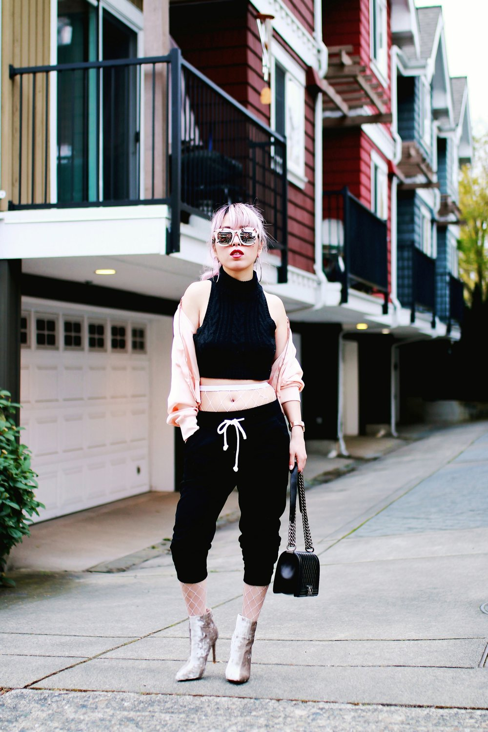 Zara Blush Silk Bomber Jacket_Missguided mock neck Crop top_ASOS fishnet tights_H&M sweatpants_Public Desire Boots_Chanel Bag_L'Oreal Red Lipstick_Free People Mirrored Sunglasses_Aikas Love Closet_Seattle Fashion Style Blogger_Pink Hair 18