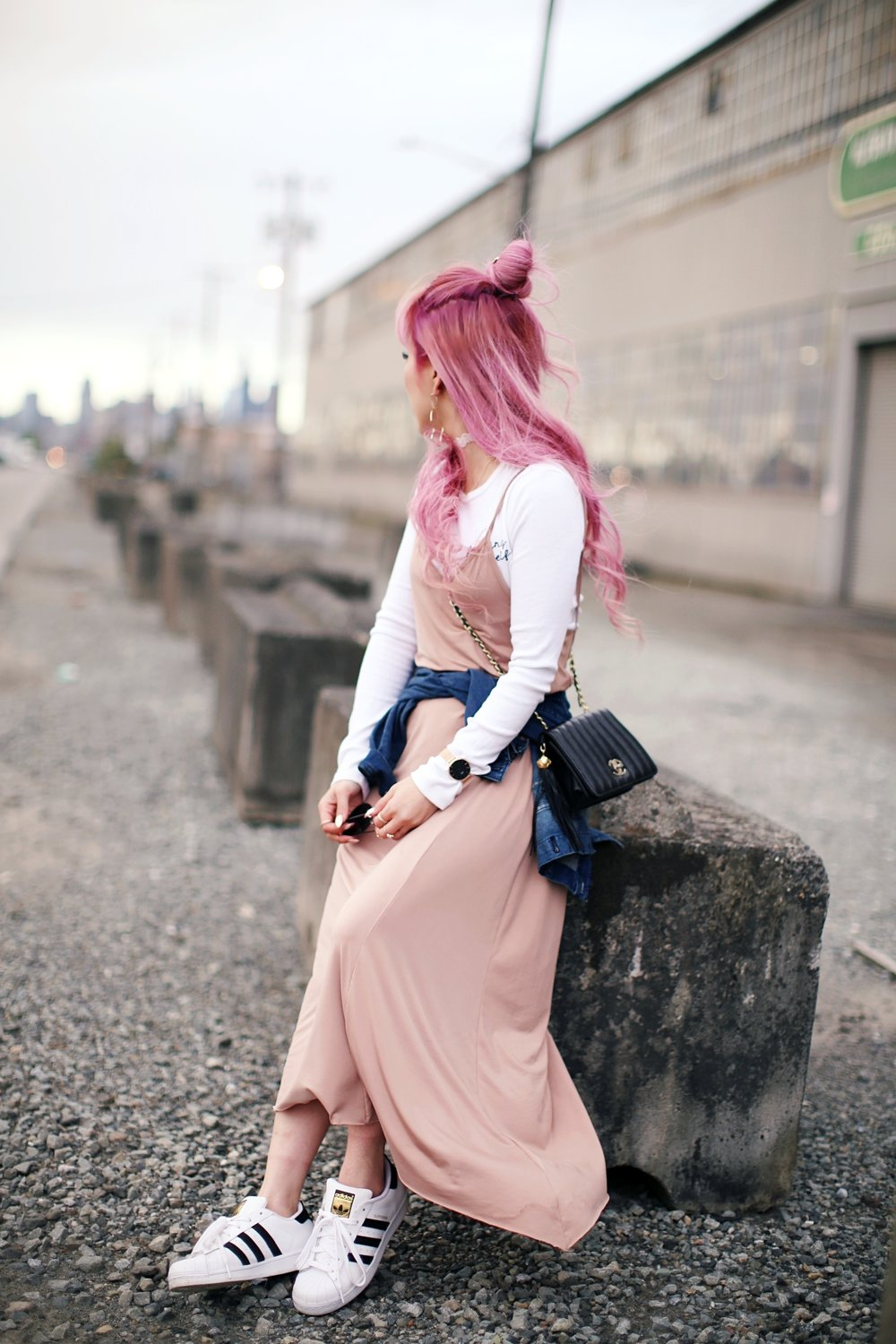 Forever 21 Long sleeve crop top_ZARA blush slip dress_Adidas Super Star sneakers_Vintage Chanel crossbodybag_Daniel Wellington Petite rose gold watch_Guess denim jacket_Aika's Love Closet_Seattle Fashion style blogger_Japanese_pink hair_half-up topknot hair