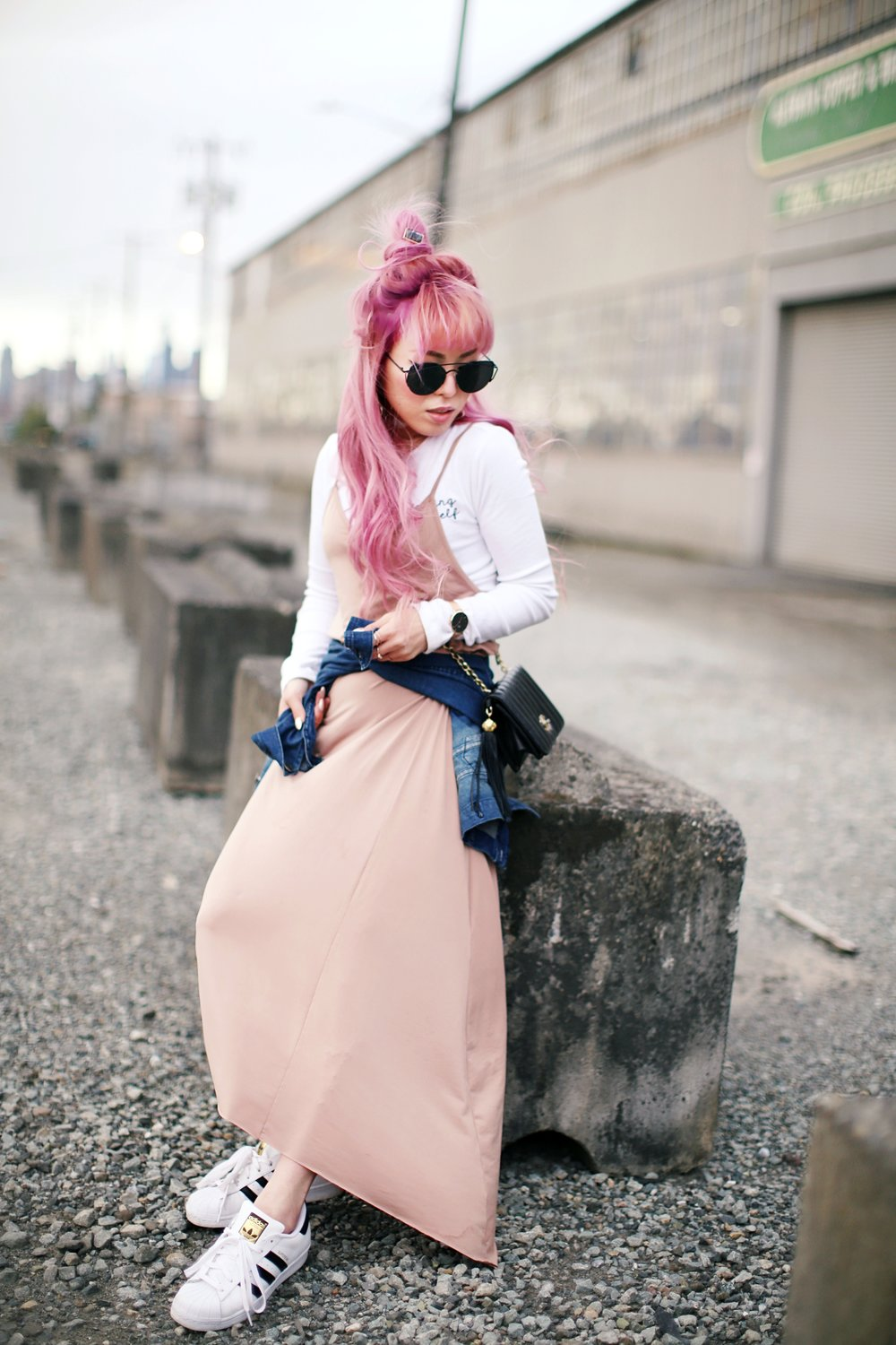 Forever 21 Long sleeve crop top_ZARA blush slip dress_Adidas Super Star sneakers_Vintage Chanel crossbodybag_Daniel Wellington Petite rose gold watch_Guess denim jacket_Aika's Love Closet_Seattle Fashion style blogger_Japanese_pink hair 2