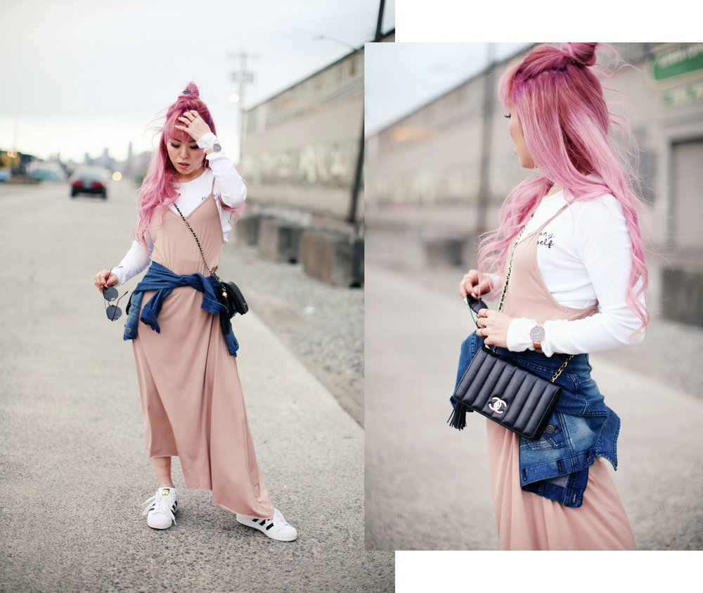 Forever 21 Long sleeve crop top_ZARA blush slip dress_Adidas Super Star sneakers_Vintage Chanel crossbodybag_Daniel Wellington Petite rose gold watch_Guess denim jacket_Aika's Love Closet_Seattle Fashion style blogger_Japanese_pink hair 5