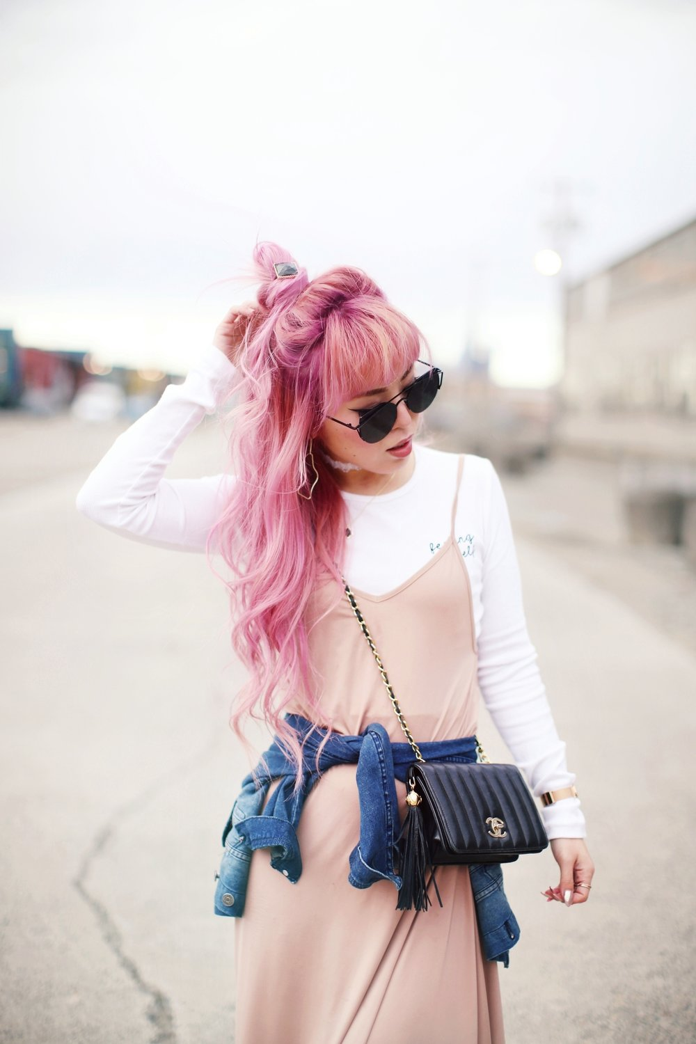 Forever 21 Long sleeve crop top_ZARA blush slip dress_Adidas Super Star sneakers_Vintage Chanel crossbodybag_Daniel Wellington Petite rose gold watch_Guess denim jacket_Aika's Love Closet_Seattle Fashion style blogger_Japanese_pink hair_topknot hair-soft curled hair-beach wavy hair