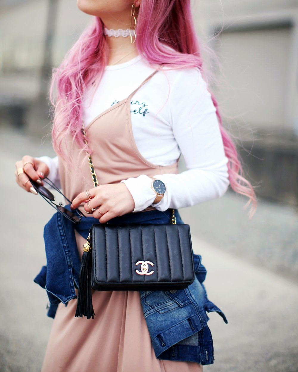 Forever 21 Long sleeve crop top_ZARA blush slip dress_Adidas Super Star sneakers_Vintage Chanel crossbodybag_Daniel Wellington Petite rose gold watch_Guess denim jacket_Aika's Love Closet_Seattle Fashion style blogger_Japanese_pink hair 6